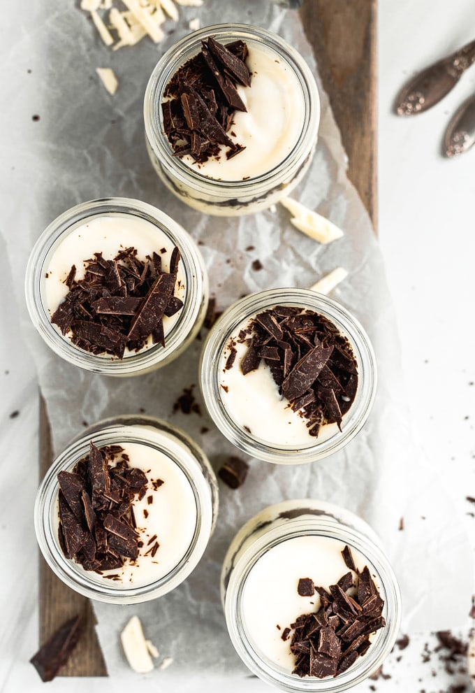 White Chocolate Mousse Recipe in small jars