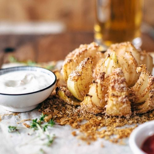baked blooming onion on parchment