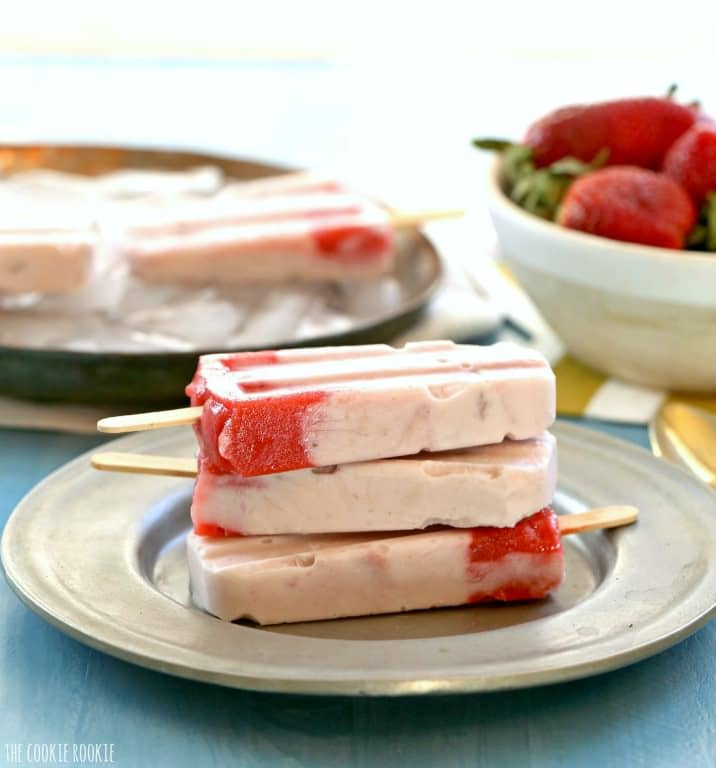 Strawberries and Cream Pops made with creamy strawberry yogurt and pureed fruit. Delicious, easy, and healthy treat the whole family will love!