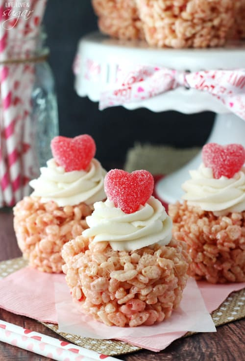 Valentine's Day Rice Krispie Treat Cupcakes | Life Love and Sugar