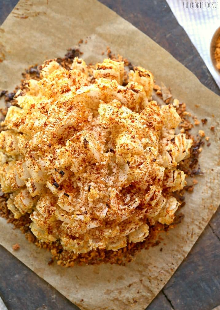 Baked Blooming Onion! An easy skinny version of my favorite appetizer. DELICIOUS! | The Cookie Rookie