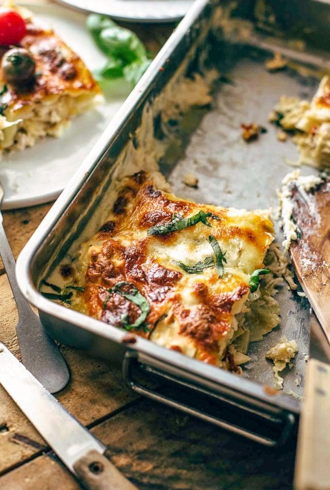 White Chicken Lasagna - Caprese Chicken Lasagna - The Cookie Rookie
