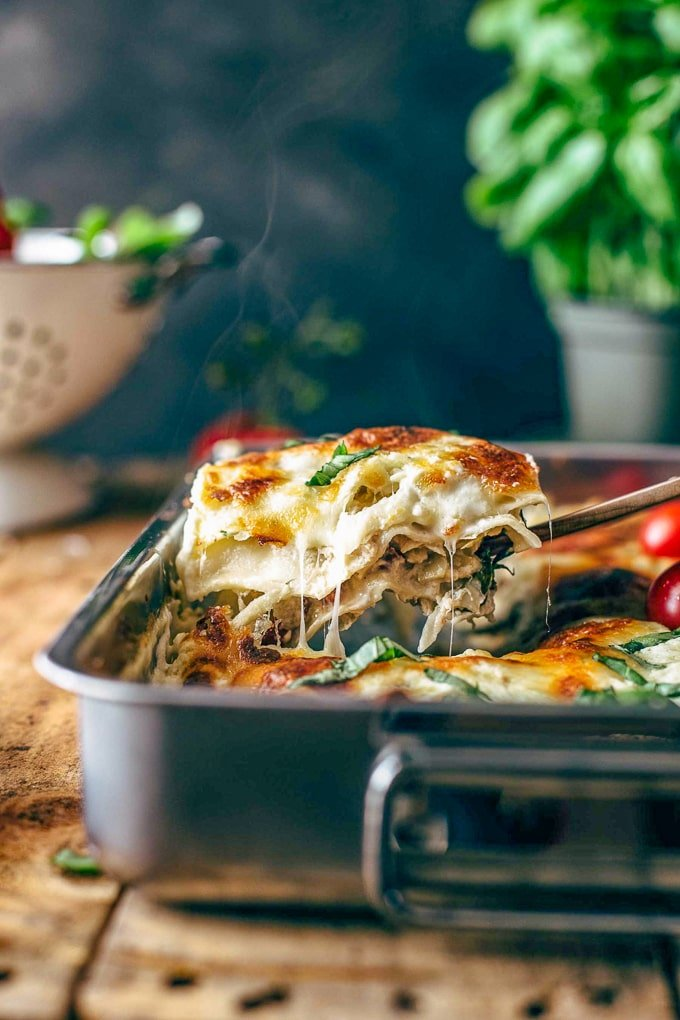 casserole dish of lasagna on a table