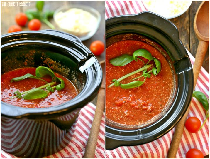 Easy Homemade Parmesan Marinara made in the crockpot! Slow Cooker Parmesan Marinara, the best! | The Cookie Rookie