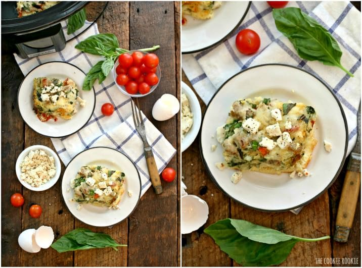 mediterranean quiche on plates