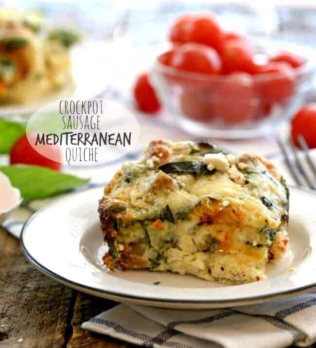 Crockpot Healthy Sausage Mediterranean Quiche on a plate