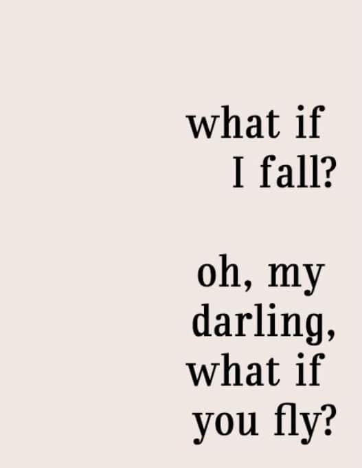 what if I fall? oh my darling, what if you fly? graphic