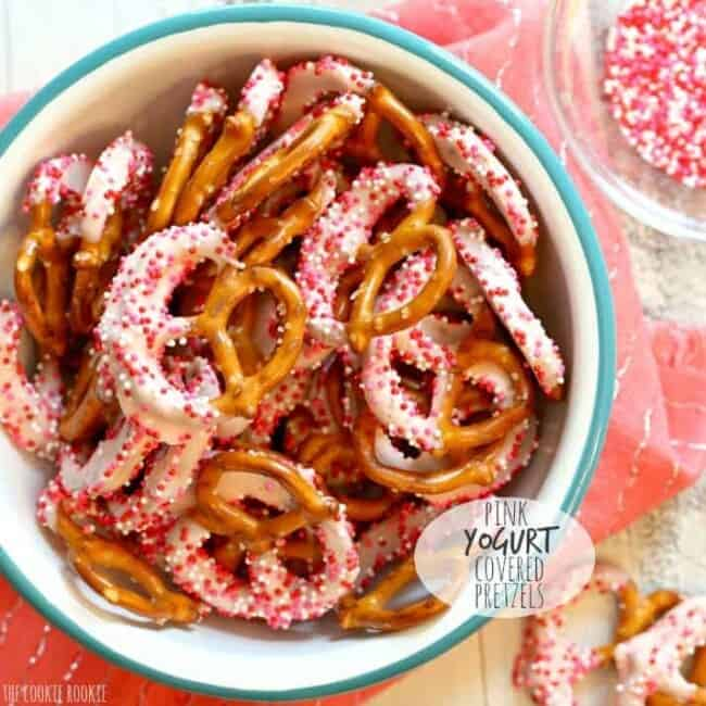Pink Yogurt Covered Pretzels in a bowl