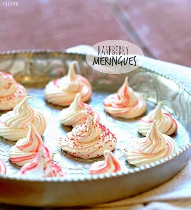 Raspberry Meringues on a silver tray