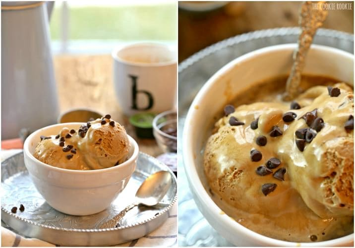 Salted Caramel Affogato, a favorite dessert! Hot Espresso poured over Salted Caramel Gelato and topped with chocolate chips is the perfect easy sweet treat!