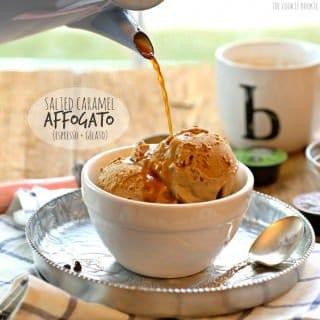 Salted Caramel Affogato (Espresso + Gelato)