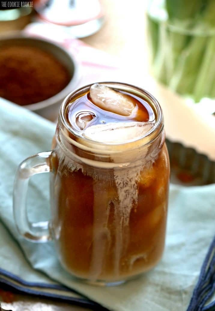 mug of iced coffee