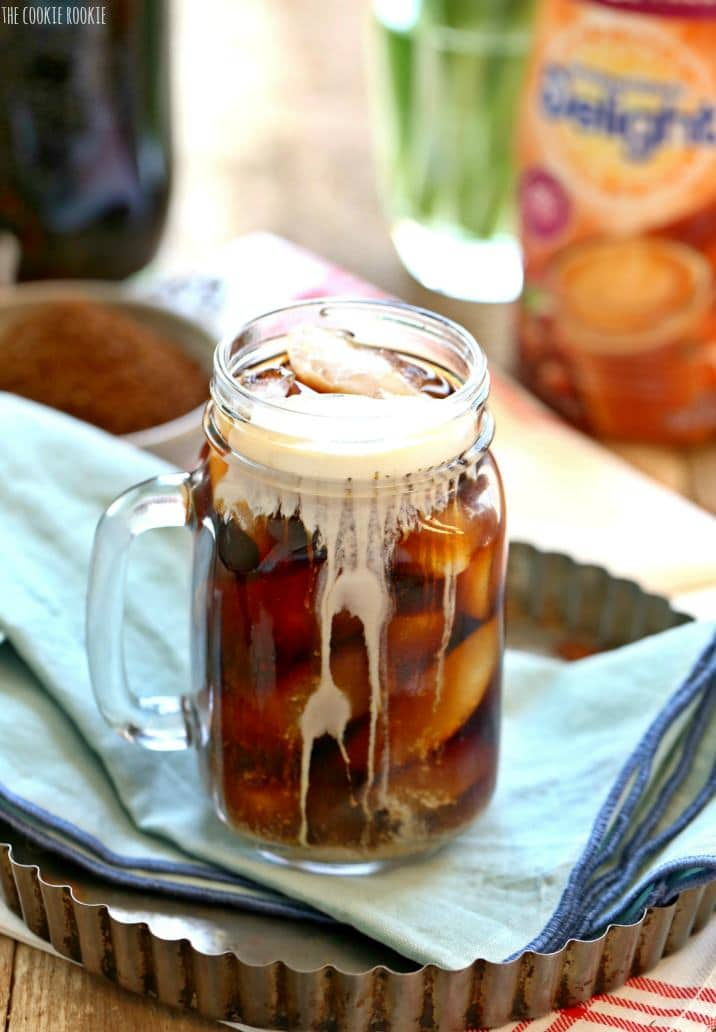 iced coffee in front of creamer