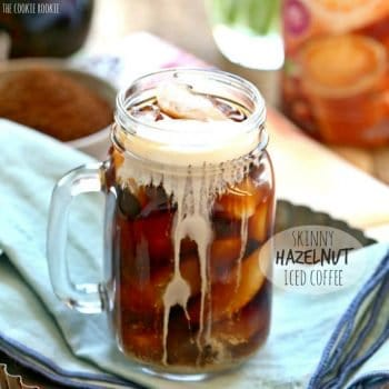 Skinny Hazelnut Iced Coffee in a glass mug