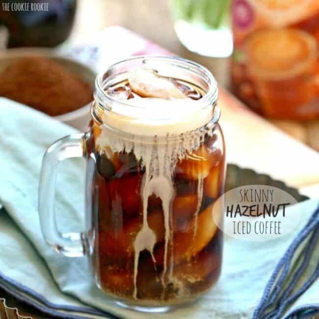 Skinny Hazelnut Iced Coffee in a glass mug