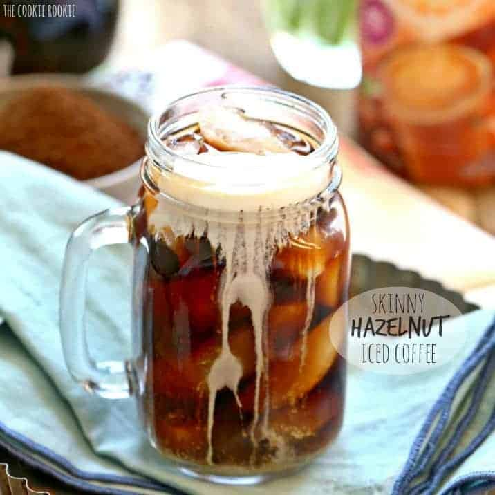 Skinny Hazelnut Iced Coffee, sugar free and fat free! Easy to make in large batches at home. DELICIOUS! | The Cookie Rookie
