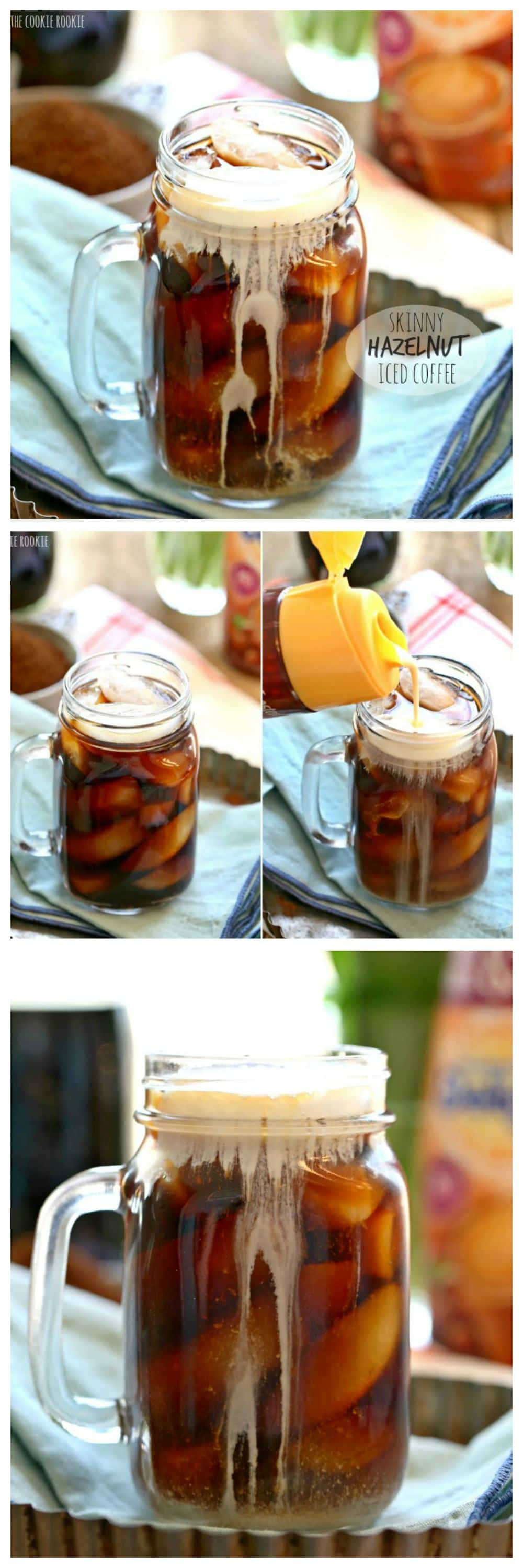 Skinny Hazelnut Iced Coffee, sugar free and fat free! Easy to make in large batches at home. DELICIOUS!   The Cookie Rookie