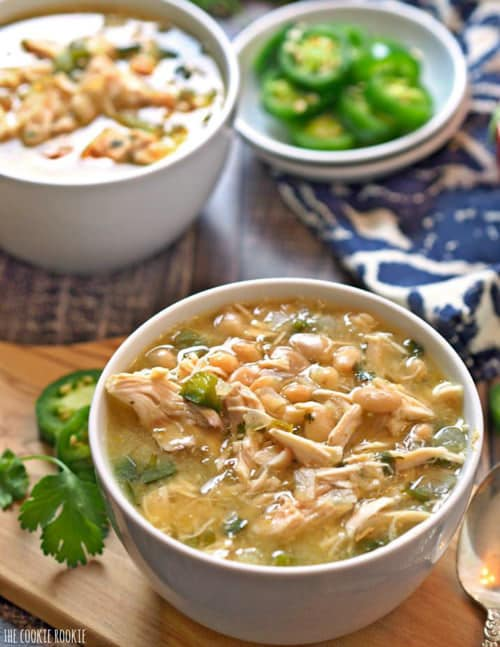 SKINNY COMFORT FOOD RECIPES Easy Spicy White Chicken Chili | The Cookie Rookie
