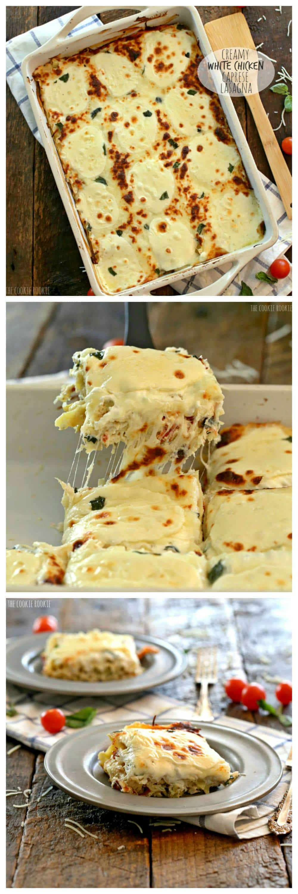 Creamy, cheesy White Chicken Caprese Lasagna is an easy favorite meal ...