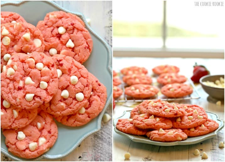 White Chocolate Chip Strawberry Cookies made from Strawberry Cake Mix! Easy and fun pink and white cookies for Valentine's Day or a baby shower!
