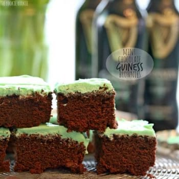 Mint Chocolate Guinness Brownies! Easy and fun green brownies made with quick mint icing and Guinness! Perfect for Saint Patrick's Day! Fun and festive | The Cookie Rookie