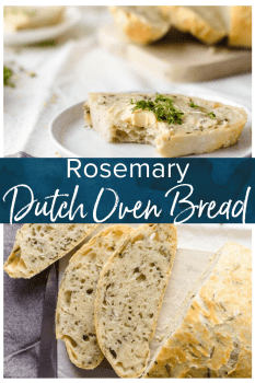 Dutch Oven Bread is such a simple way to make homemade bread. Making no knead bread in a dutch oven is just so easy, it's completely changed the way I think about baking bread! This Rosemary Bread with Sea Salt is simply perfect & tastes amazing. If you're looking for an easy bread recipe, this is it!