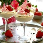 no bake cheesecake cups in cocktail glasses on a silver tray