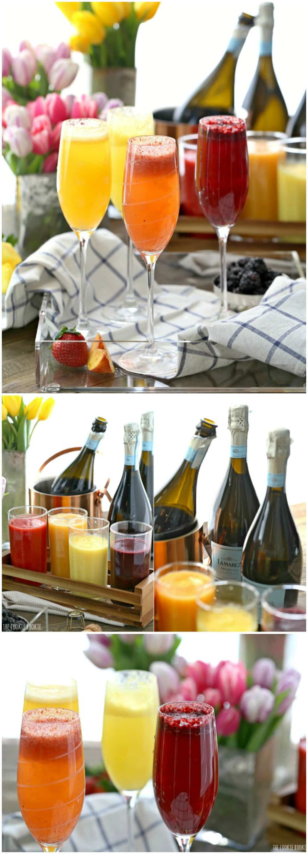Homemade Bellini Bar made easy with fruit purees and Prosecco! You can use sparkling water for a tasty non-alcoholic brunch or breakfast. So fun and tasty!   The Cookie Rookie