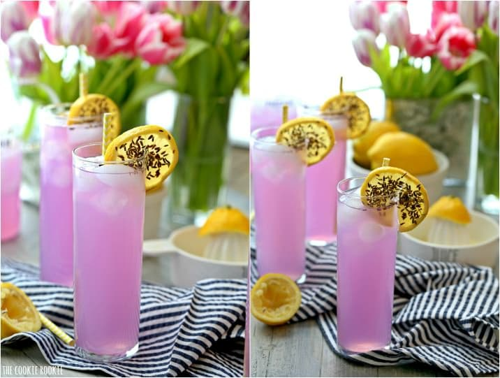 Lavender Lemonade is a fragrant, refreshing, and beautiful drink.  This Lavender Lemonade Recipe is the ultimate party drink to make for baby showers, wedding showers, Summer BBQs, and more! Cheers to Spring! Such a pretty sip to bring to any party.