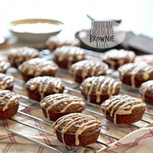 mexican chocolate brownie bites on a cooling rack