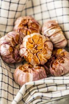 roasted garlic in a basket