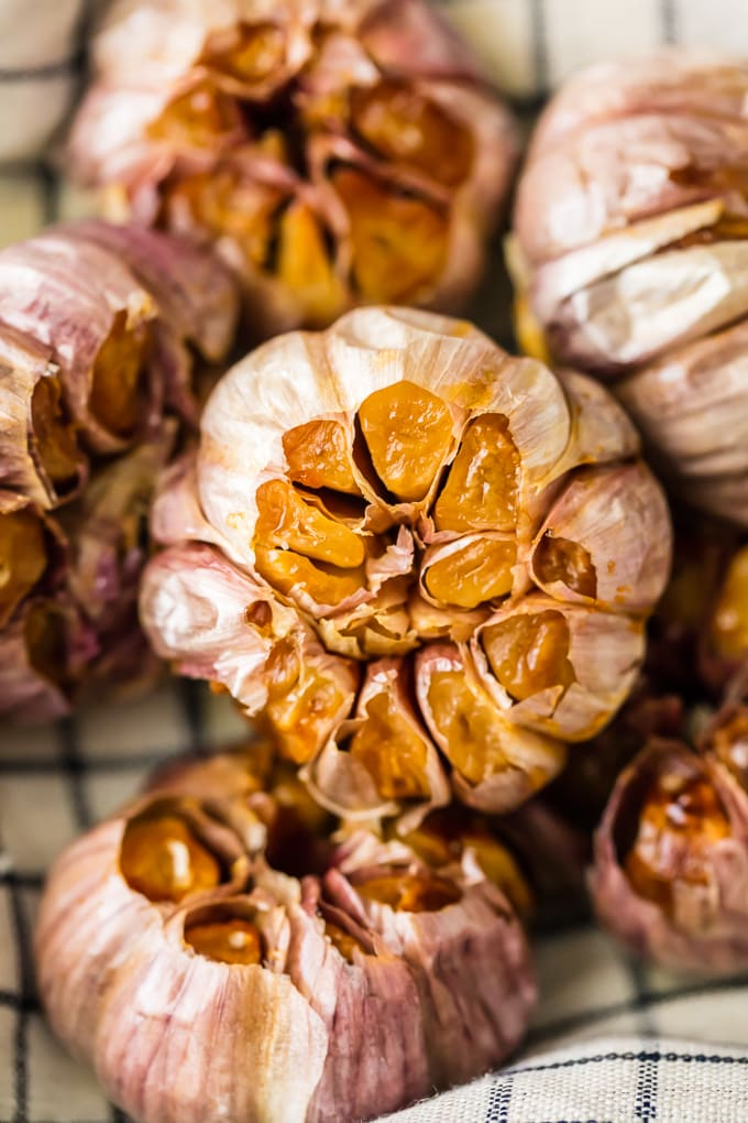 close up view of oven roasted garlic