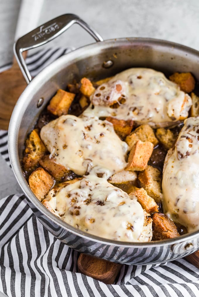 Skillet with French Onion Chicken cooked in french onion soup