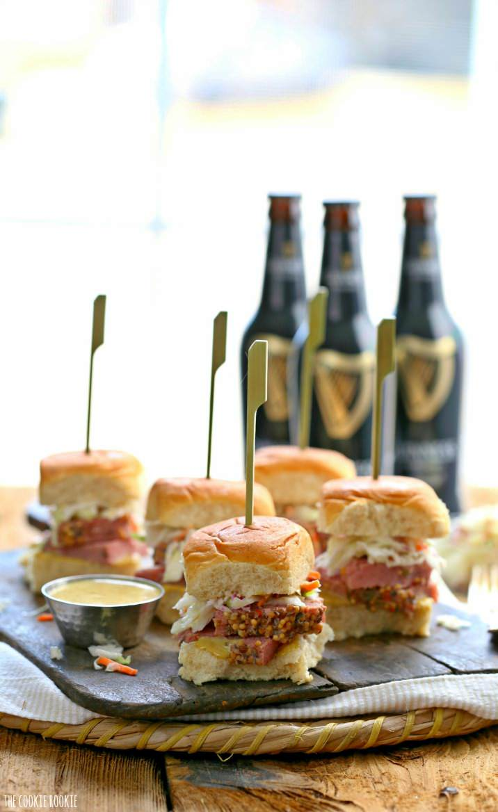 Slow Cooker Corned Beef and Cabbage Sliders with Guinness Mustard! The perfect Irish meal or appetizer for St. Patrick's Day! So fun, festive, and easy! | The Cookie Rookie