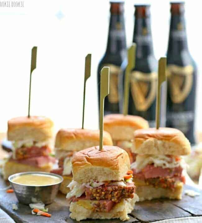Slow Cooker Corned Beef and Cabbage Sliders on a plate