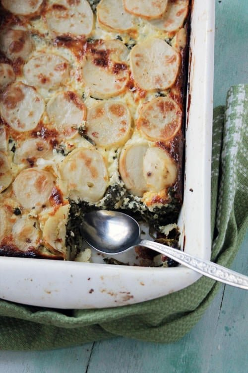 Spinach, Feta and Potato Gratin | Diethood