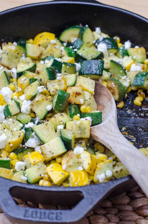 Zucchini and Sweet Corn with Feta | Valerie's Kitchen