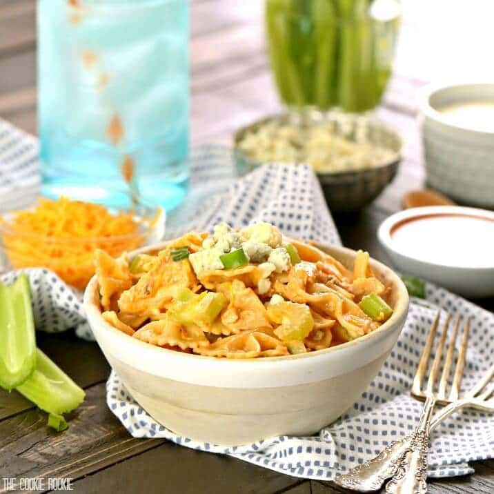 Buffalo Chicken Pasta Salad, a delicious and spicy side dish perfect for any BBQ! Tossed in minutes, sure to make even the pickiest eater happy!