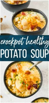 Crockpot Potato Soup is a Healthy Potato Soup we simply love. This Recipe for Potato Soup makes things easy by using a slow cooker! Set it and forget it...until it's time to eat. Just because this is a healthy version doesn't mean it's any less flavorful than your favorite Potato Cheese Soup. Crockpot Loaded Potato Soup for the win!