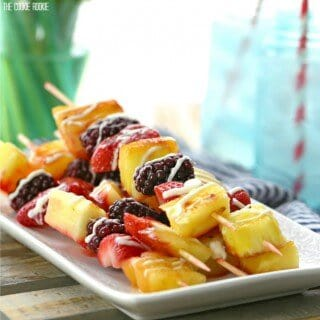 Grilled Fruit Kebabs with White Chocolate Drizzle