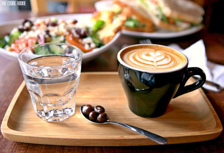 Coffee and water on tray