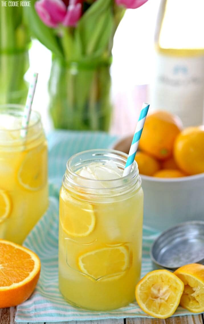 Meyer Lemon Citrus Sangria made with fruit juices, fruity white wine, and meyer lemons! Fun, easy, and delicious cocktail recipe for any occasion!