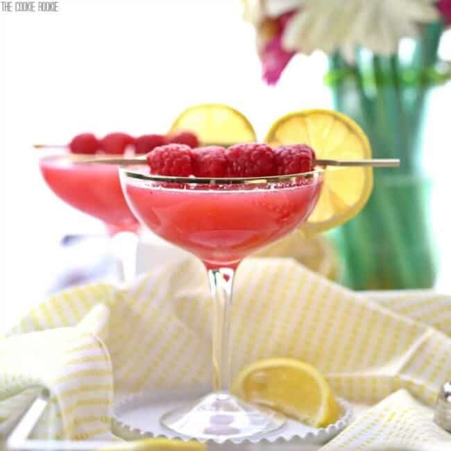 raspberry lemon drop martinis in glasses