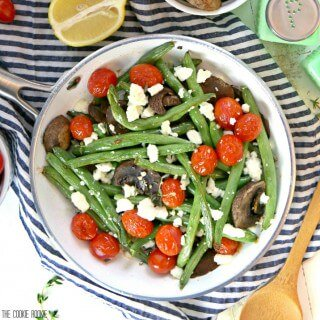 Roasted Green Beans with Feta and Tomatoes