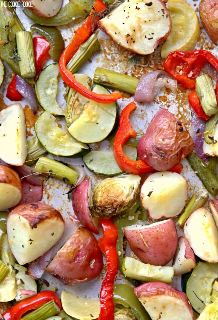 Super Easy Roasted Vegetables! We make this almost every week at our house! Healthy, beautiful, and delicious!