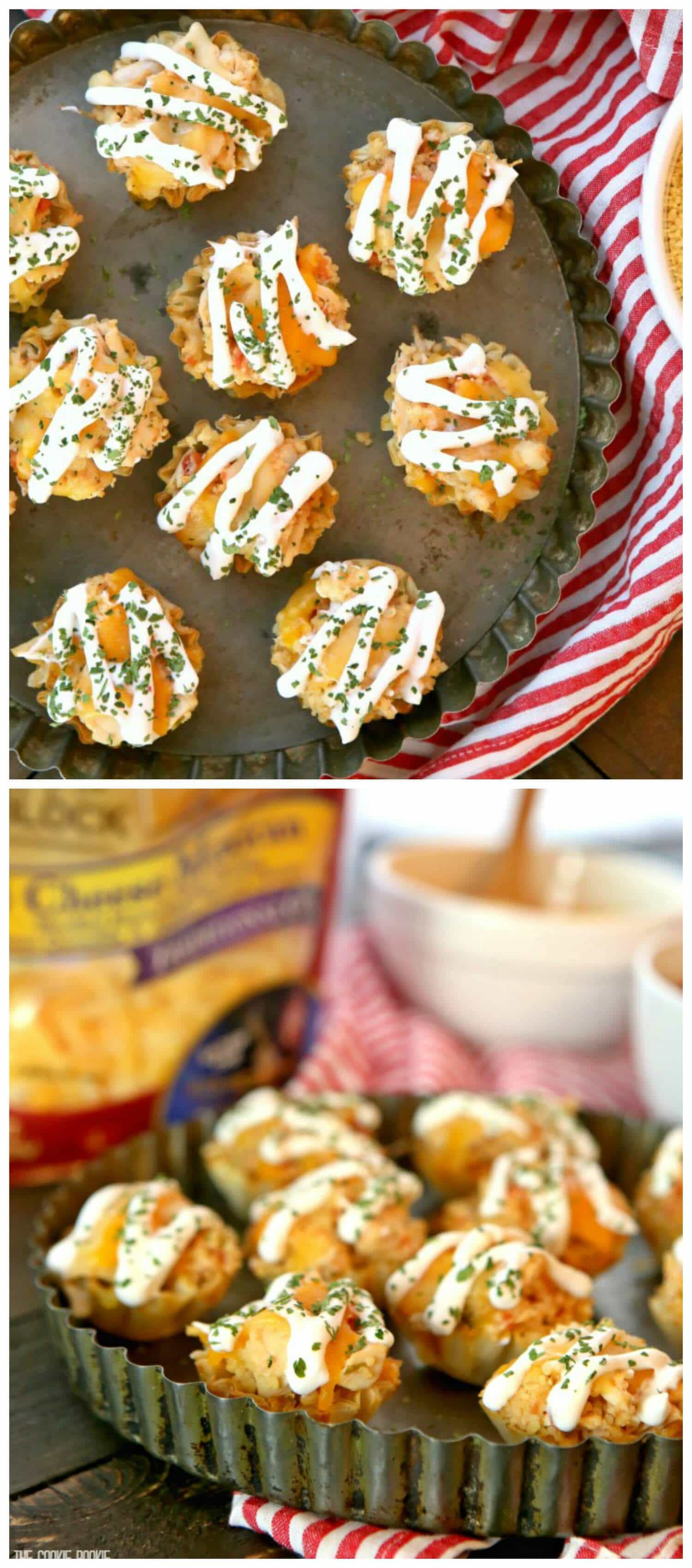 Santa Fe Chicken Bites made with couscous, salsa, chicken, and cheese. Simple bite sized appetizer perfect for any occasion!