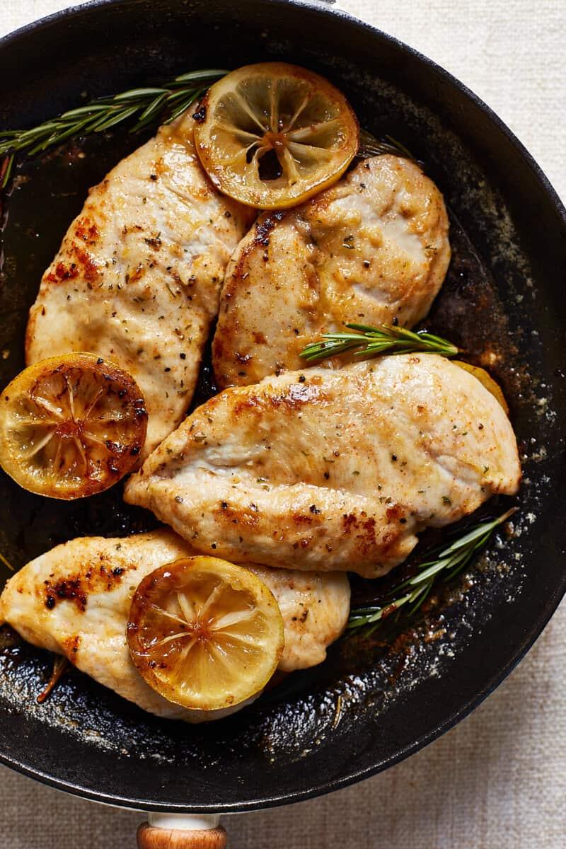 skillet of lemon chicken