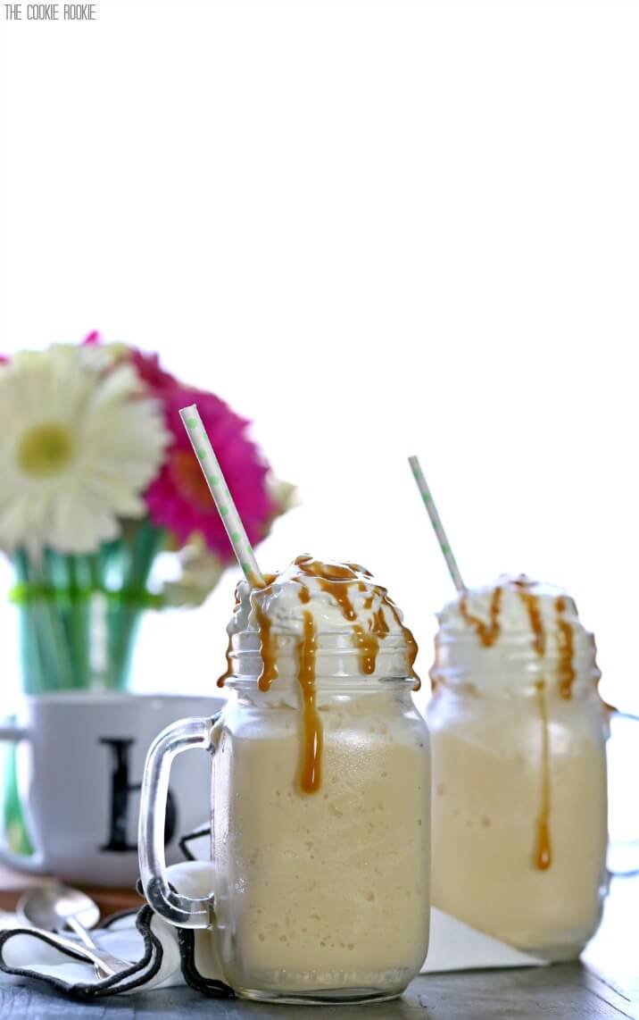 Skinny Caramel Frappe made with no fat and no sugar! Simple, easy, and delicious. You'll never guess its a skinny version of a Starbucks Frappuccino!