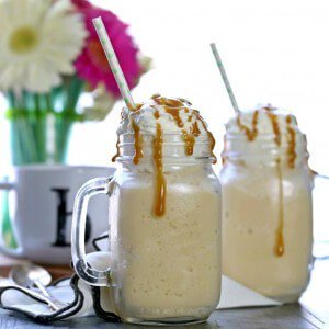 Skinny Caramel Frap made with no fat and no sugar! Simple, easy, and delicious. You'll never guess its a skinny version of a Starbucks Frappuccino!