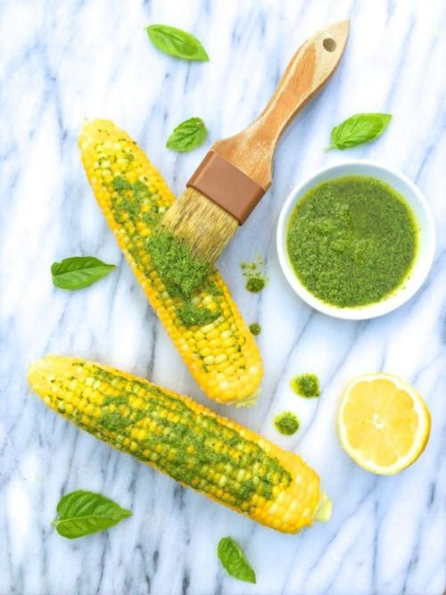 Corn on the Cob with Lemon Basil Pesto | The Lemon Bowl